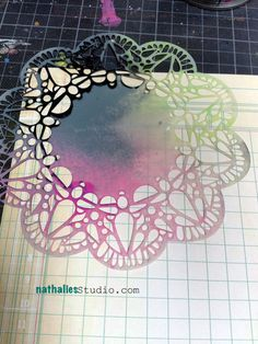 """The Balzer Designs """"Doily"""" Stencil from The Crafter's Workshop- I seriously want this! Stencil Diy, Stenciling, Art Journal Pages, Art Journals, Craft Robo, Prima Marketing, Paint Party, Smash Book, Laser Engraving"""