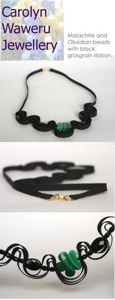 Black grosgrain ribbon and malachite necklace by Carolyn Waweru Jewellery $31.74
