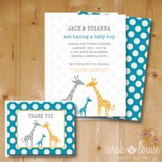 giraffe family invite - etsy (switch blue for green)