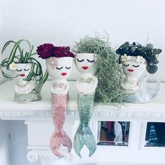 These handmade ceramic mermaid planters are so adorable!