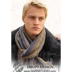 Men's Scarf Knitting Pattern in Garter St in DROPS