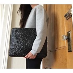 3.1 Phillip Lim 31 minute bag. Animal print embroidered clutch in black smooth leather with double zipper vial closures in silver hardware.  Hardware slightly tarnished.  Backside has a handle and the bag can be carried in multiple ways (clutch, folded over, and by the handle).  Interior zip pocket in leather. 3.1 Phillip Lim Bags Clutches & Wristlets