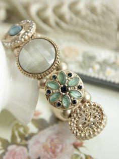 Romantic Victorian Pink/ Mint Bead Bracelet by AnneEmmaJewelry, $7.80