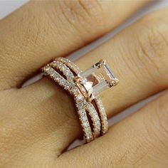 morganite and.diamond art deco ring - Google Search