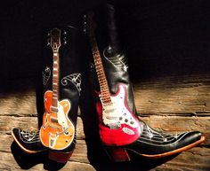 Guitar cowboy boots designed after Eddie Cochran's Gretsch 6120 and Buddy Holly's Fender Strat