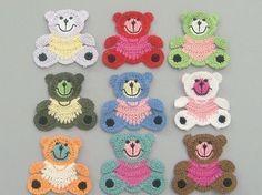 Teddy Bear Crochet Applique Patterns | Large Crochet Teddy Bear Appliques 9 Colors EA132