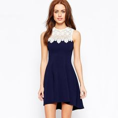 Navy Blue Sleeveless Lace Crochet Flare Slim Dress