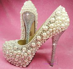 pearl heels | Custom Design Crystal & Pearl Shoes