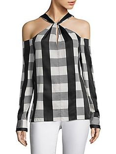 Collingwood Cold-Shoulder Gingham Cotton-Blend Top in Black RAG & BONE Collingwood Gingham Cold-Shoulder Top. Casual Wear, Casual Outfits, Fashion Outfits, Womens Fashion, Sewing Blouses, Monochrome Fashion, Diy Clothing, Refashion, Blouse Designs