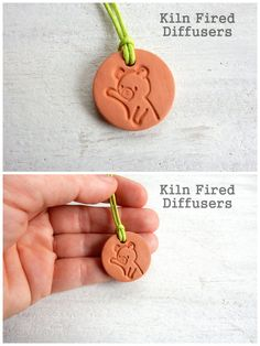 Teddy Bear Essential Oil Diffuser Pendant Necklace Unglazed Aromatherapy Jewelry for Chirldren Kids Animal Lover Terracotta Aroma Clay