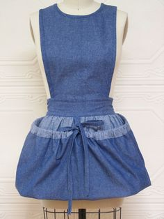 Gathering Bag Apron with bib top for heavy loads -- lightweight denim