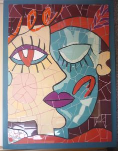"""""""This work was inspired by a painting by Picasso. Because of its (seemingly) simple lines I thought it would be very suitable to capture it in mosaic. It was made of ceramic tiles on wood, and set in a blue wooden frame."""" Jeanette ( MoZaEnZo Mosaic Studio )"""
