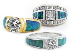 Opal and diamond rings