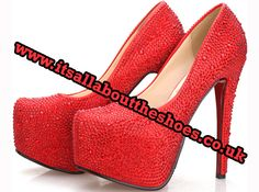 'Blaze' BOUTIQUE Ladies Handmade Diamante Crystal Platform Leather Shoes in Red with Red Sole - £175.00 www.itsallabouttheshoes.co.uk