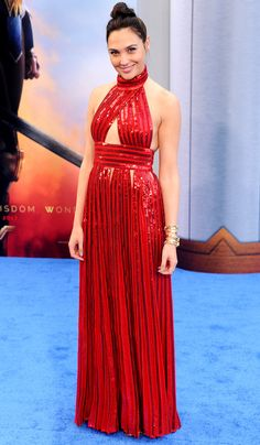 "Gal Gadot in Givenchy attends the ""Wonder Woman"" L.A. premiere. #bestdressed"