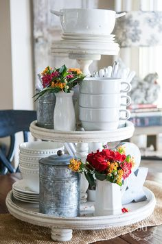 10 MINUTE DECORATING-Decorate your kitchen table for summer in just 10 minutes! Create an easy, breezy vignette to use all summer long! 3 Tier Stand, Tiered Stand, Tiered Server, Tier Tray, Serving Tray Decor, Vibeke Design, Do It Yourself Home, Seasonal Decor, Farmhouse Decor