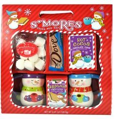 S'more Kit Gift Set with Mugs, Cocoa, Graham Crackers and Dove Chocolate Bar Dove Chocolate, Chocolate Fudge, Gift Baskets For Women, Chocolate Graham Crackers, Hot Cocoa Mixes, Bar Gifts, Cocoa Bar, Hand Painted Ceramics, Mugs Set