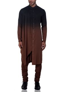 Shop Black Brown Ombre Cotton Glaze Kurta Set from Adorn His By Tushi Gupta and Vaibhav Sehgal High Fashion Men, Indian Men Fashion, Mens Fashion Wear, Kurta Men, Mens Sherwani, Mens Ethnic Wear, Mens Kurta Designs, Kurta With Pants, Manish