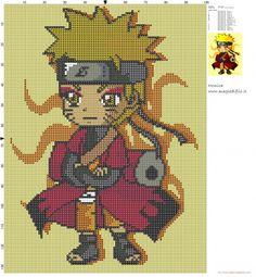 Beaded Cross Stitch, Cross Stitch Embroidery, Embroidery Patterns, Cross Stitch Patterns, Naruto Chibi, Naruto Uzumaki, Modele Pixel Art, Anime Crafts, Anime Pixel Art