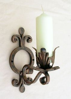 SINGLE CANDLE WALL SCONCE. LARGE AND HEAVY. 9ins TALL STANDS OUT FROM WALL 6.5 ins. TO TAKE 2ins DIA CANDLE. | eBay!