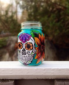 Hand painted sugar skull and sunflower mason jar mug on Etsy, $15.00
