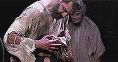Yes! The beginning of a fabulous set of kisses. Richard Armitage (John Proctor) and Anna Madeley (Elizabeth Proctor). The Crucible at The Old Vic. (Anna Firbank in background)