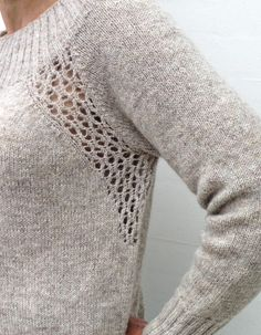 Eyelet pattern by Sanne Fjalland Knit-Wear Ravelry: Lochmuster von Sanne Fjalland Knit-Wear Easy Knitting, Knitting Stitches, Knitting Patterns Free, Knitting Sweaters, Sewing Patterns, Baby Sweaters, Stitch Patterns, Raglan, Pulls