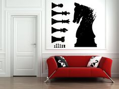 Wall Vinyl Sticker Decals Mural Room Design Pattern Art Chess Game Sport Horse bo1826 by RoomDecalsAndDesigns on…