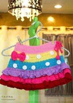 Crochet Rainbow Skirt for Little Girl