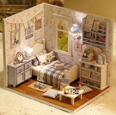 DIY Miniature Bedroom Miniture House Handcraft Kit by UniTime