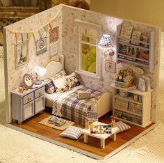 DIY Miniature slaapkamer miniatuur huis handwerk Kit geschenken Christmas Gift van de verjaardag kinderen vrouwen Toy vergadering Dollhouse Model