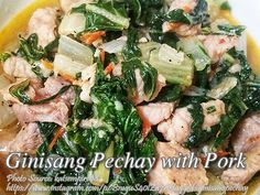 Ginisang pechay is a simple leafy vegetable dish made from sauteed pechay and pork. There are many Filipino dishes that contains pechay as one of the main Meat Recipes For Dinner, Easy Meat Recipes, Pork Recipes, Easy Meals, Vegetable Dishes, Vegetable Recipes, Bok Choy Recipes, Filipino Recipes, Pork Belly