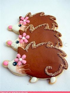 Hedgehog Cookies...I want to make these!  #cute