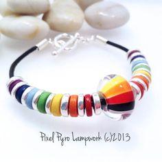 Rainbow Lampwork and Leather Bracelet £22.00