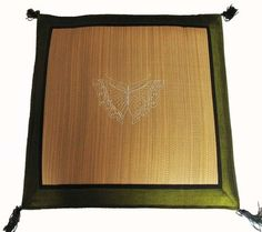 Tatami Zabuton Floor Mat - Embroidered Butterfly - Olive Green Trim
