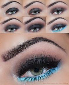 Smokey Mint Makeup Tutorial with #Addictedtomakeup >> VISIT SITE for full product list  #bbloggers #MUA #smokey #eye #eyes #smokeyeyes #mint #blue #makeup #tutorial #pictorial #howto #TGIF #FridayNight #look #lotn #clubbing