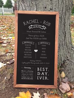 Customizable and framed chalkboard style wedding program.