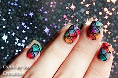 Nail art - Dry or drag marble Rainbow colors