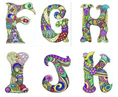 Alphabet F-K by Sheila Arthurs Tangle Doodle, Tangle Art, Doodles Zentangles, Zen Doodle, Zentangle Patterns, Doodle Art, Alphabet Art, Alphabet And Numbers, Letter Art