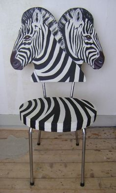 I'm not sure why I don't own this chair. Zebra Chair, Zebra Print, Chair Design, Painted Furniture, Art Decor, Contemporary Art, Home Improvement, Creative, Painting