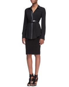 Long-Sleeve Button-Front Tunic Blouse, Straight Combo Skirt & Alligator-Embossed Leather Belt by Donna Karan