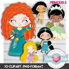 Princess Clipart Digital pocahontas jasmine merida por SweetieInk