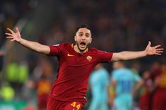 Kostas Manolas of AS Roma celebrates at the full time whistle during the UEFA Champions League Quarter Final Second Leg match between AS Roma and FC...
