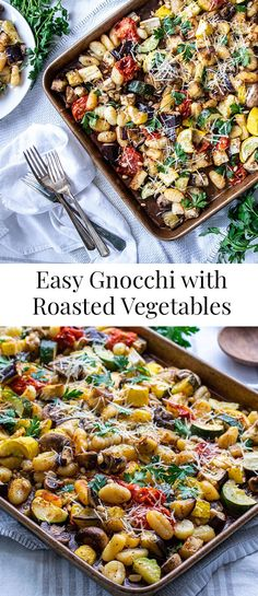 Easy Gnocchi with Roasted Vegetables is a quick and easy vegetarian recipe perfect for a weeknight dinner. There's only four steps! vegetarian dinner Easy Gnocchi with Roasted Vegetables Tasty Vegetarian Recipes, Vegetarian Recipes Dinner, Healthy Recipes, Easy Vegitarian Dinner Recipes, Healthy Vegetarian Dinner Recipes, Easy Dinner Party Recipes, Vegetarian Times, Curry Recipes, Vegan Meals