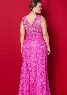 HotPink Round Neckline Lace Floor Length Plus Size Evening Dress / Prom Dresses/ Mother of The Bride Dresses