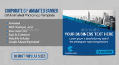 Buy Corporate Gif Animated Banner by impassioned on GraphicRiver. Use this animated gif banner to promote any kind of product or service. Ad Design, Graphic Design Art, Typography Design, Timeline Animation, Banner Gif, Best Templates, Google Ads, Banner Template, Banner Design