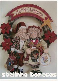 Moldes Para Artesanato em Tecido: Guirlanda Noel e Noela com moldes