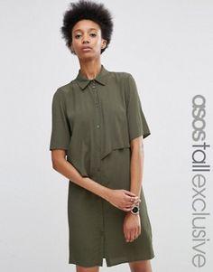 ASOS TALL Shirt Dress with Asymmetric Ruffle