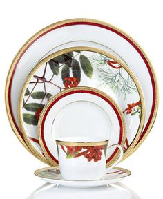Charter Club Dinnerware, Holly Berry and Red Rim Mix and Match Collection - Fine China - Dining & Entertaining - Macy's Christmas China, Christmas Dishes, Christmas Tablescapes, Noel Christmas, Christmas Items, Christmas Treats, Fine China Dinnerware, Dinnerware Sets, Christmas Dinnerware