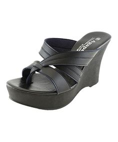 eb2e431054ed Agape Black Tiara Wedge Sandal